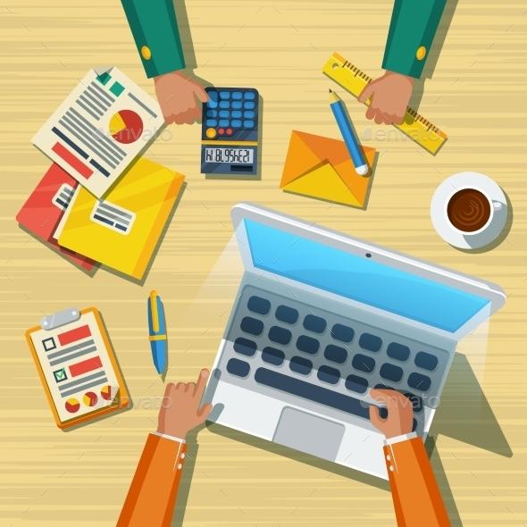 Business Meeting Long Lands Flat Poster - Business Conceptual