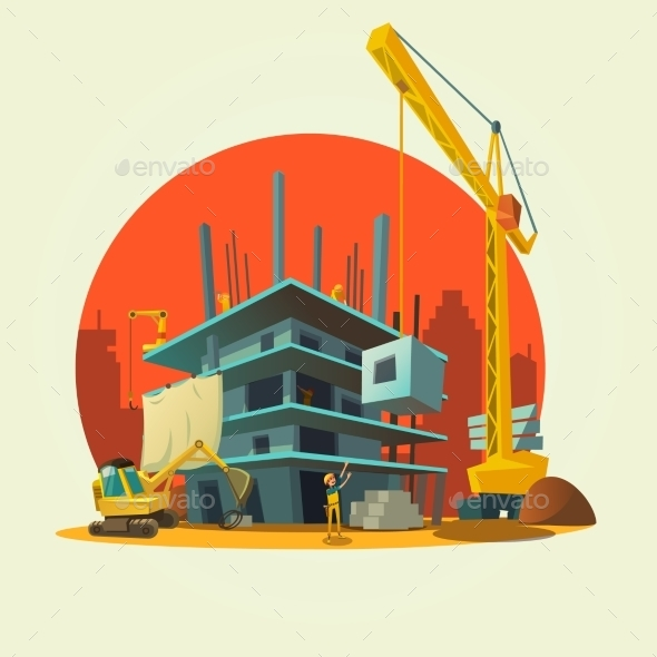 Construction Cartoon Illustration - Buildings Objects