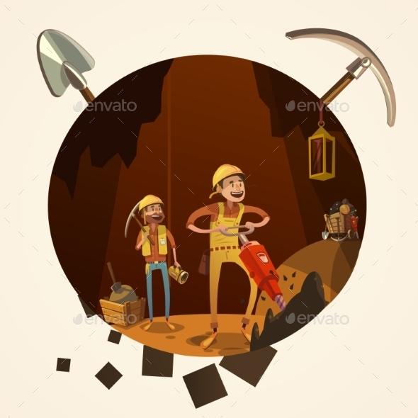 Mining Cartoon Illustration - Decorative Symbols Decorative