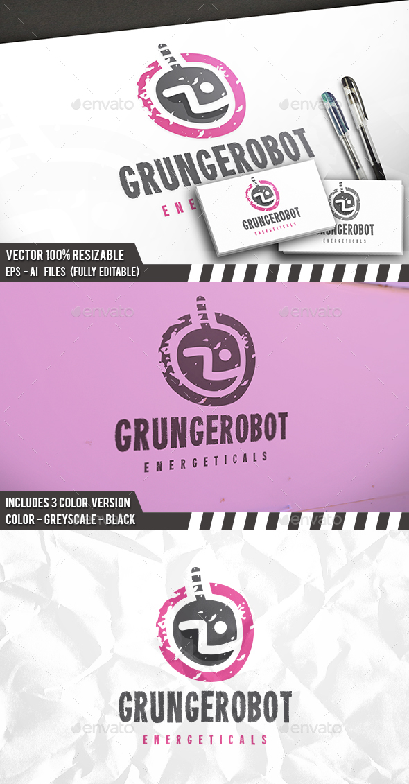 Grunge Robot Logo - Humans Logo Templates