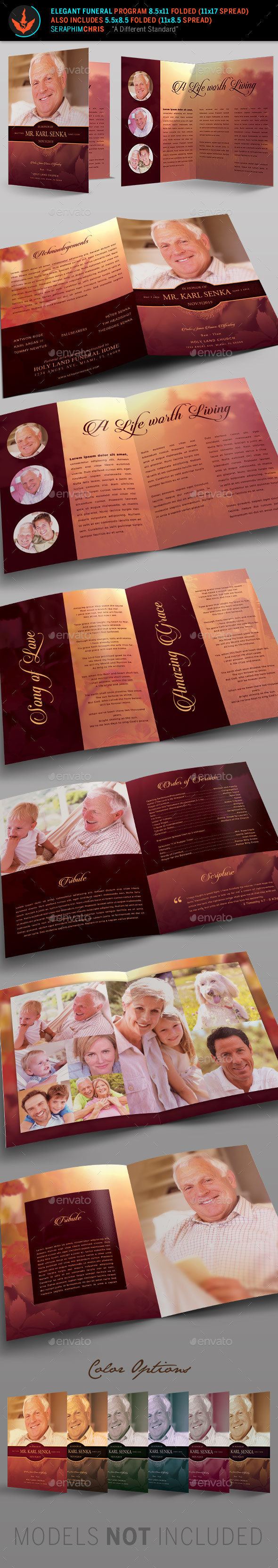 Elegant Funeral Program: Bi-Fold Template - Informational Brochures