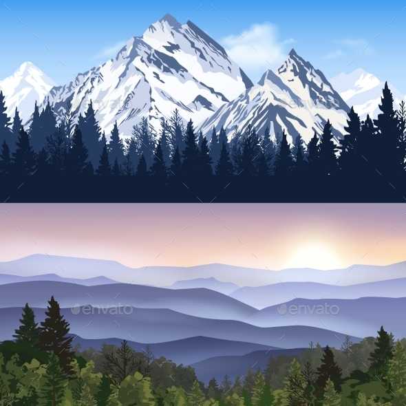 Landscape Of Mountains Banners - Landscapes Nature