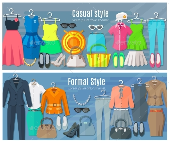 Horizontal Banners Of Formal And Casual Woman - Commercial / Shopping Conceptual