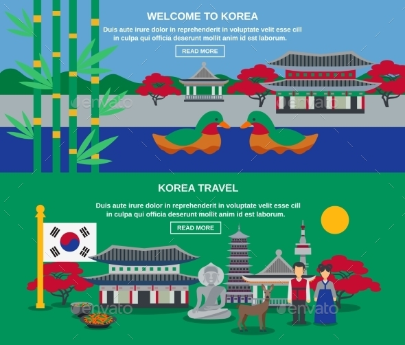 Korean Culture Travel Horizontal Banners Set - Travel Conceptual