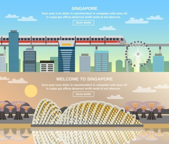 Singapore Cultural Travel 2 Flat Banners - Travel Conceptual
