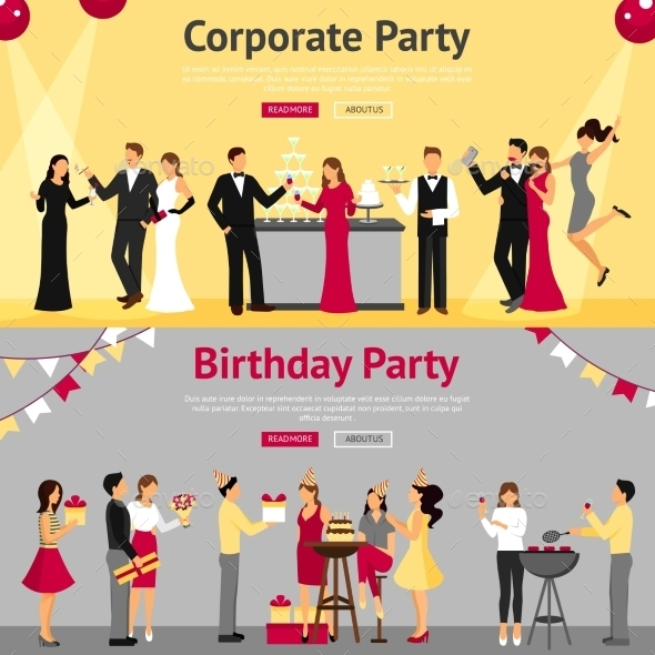 Party Flat Banners Set - People Characters
