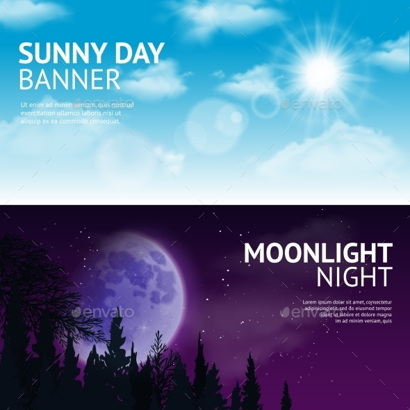 Night And Day Banner Set - Nature Conceptual