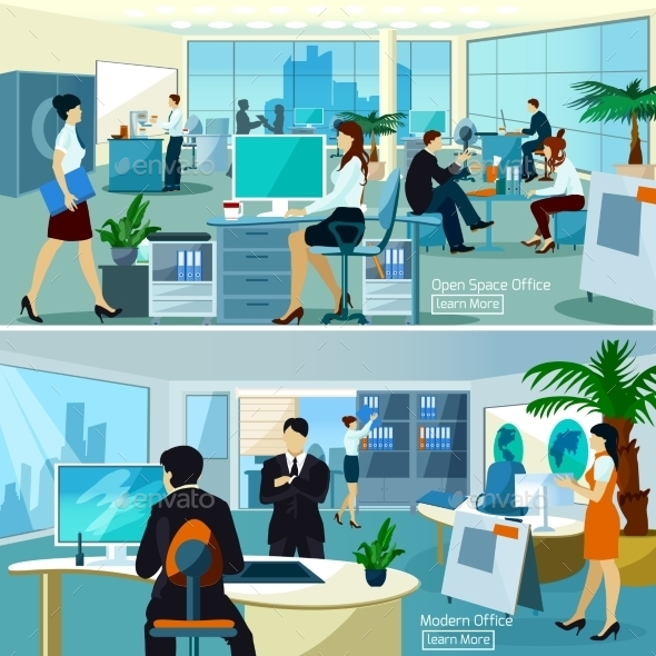 Office Compositions With Working People - Business Conceptual