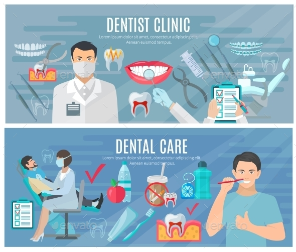 Dentist Banners Set  - Health/Medicine Conceptual