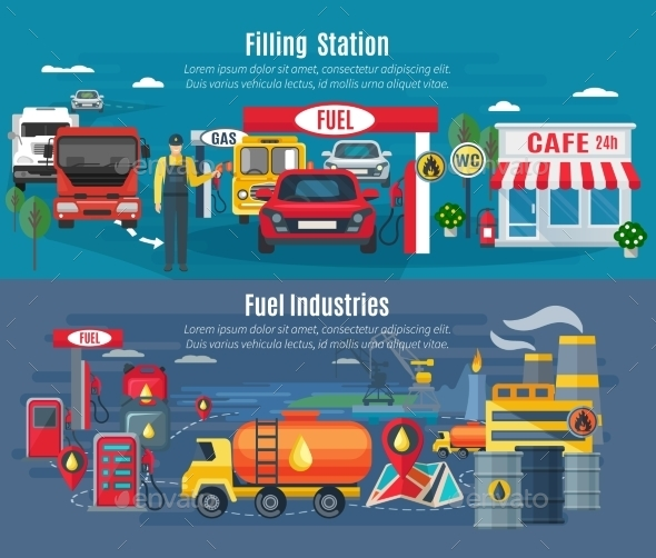 Filling Station Banners Set  - Industries Business
