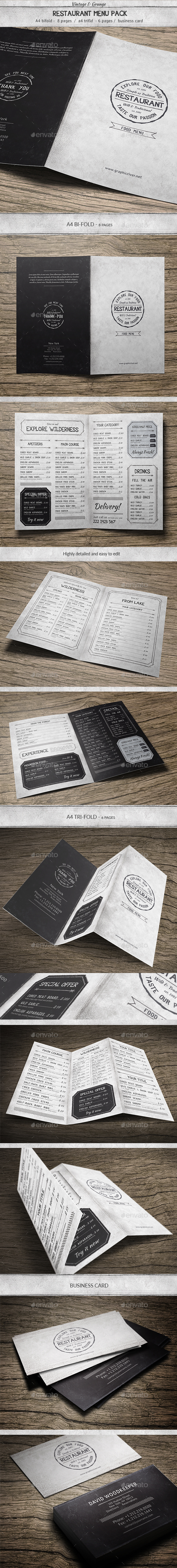 Vintage Food Menu Pack - Food Menus Print Templates