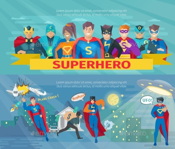 Superhero Team Banners Set  - People Characters