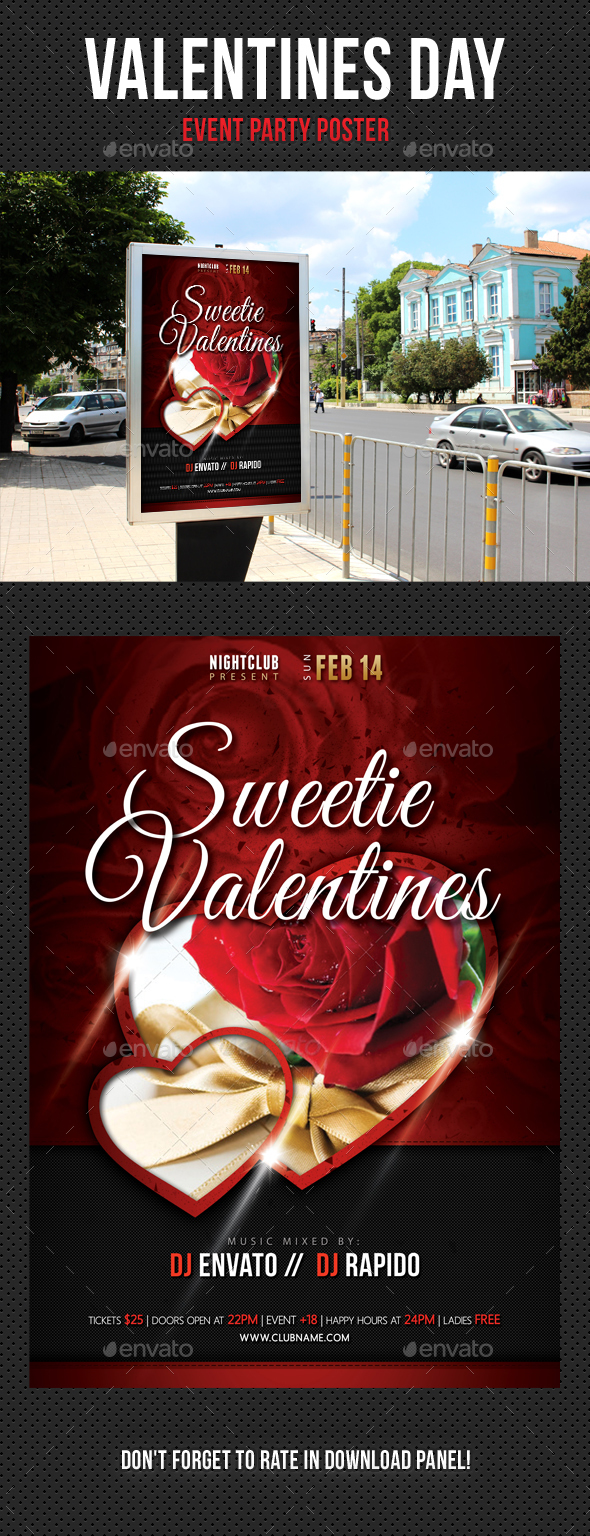Valentines Day Party Poster - Signage Print Templates