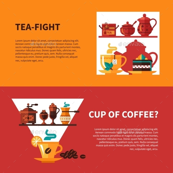 Coffe And Tea 2 Banners Design - Food Objects