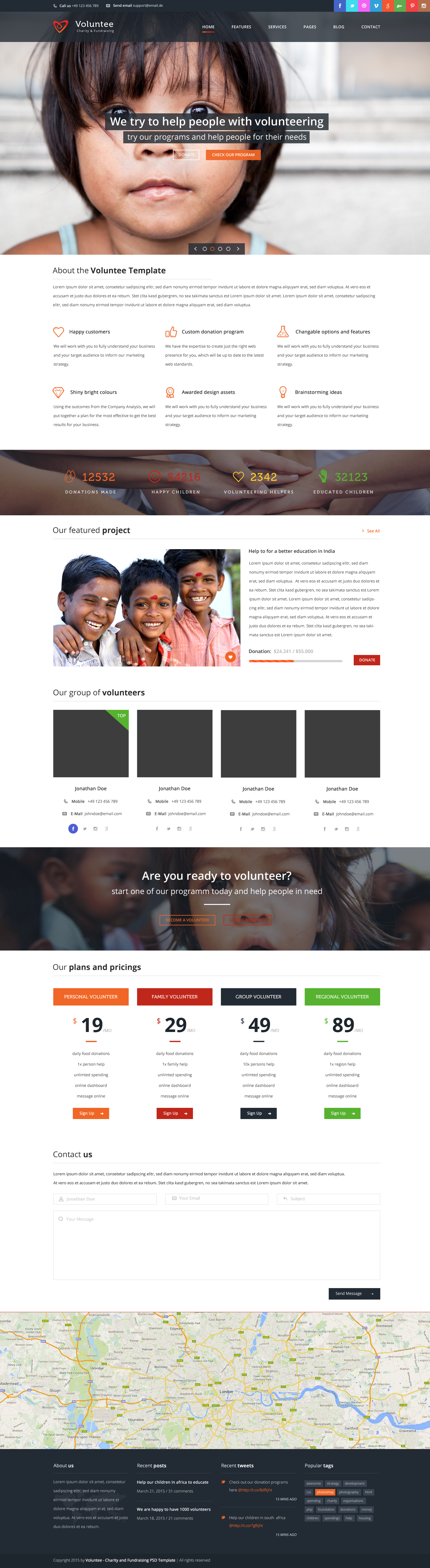 Volunteer - Charity/Fundraising WordPress Theme by template_path ...