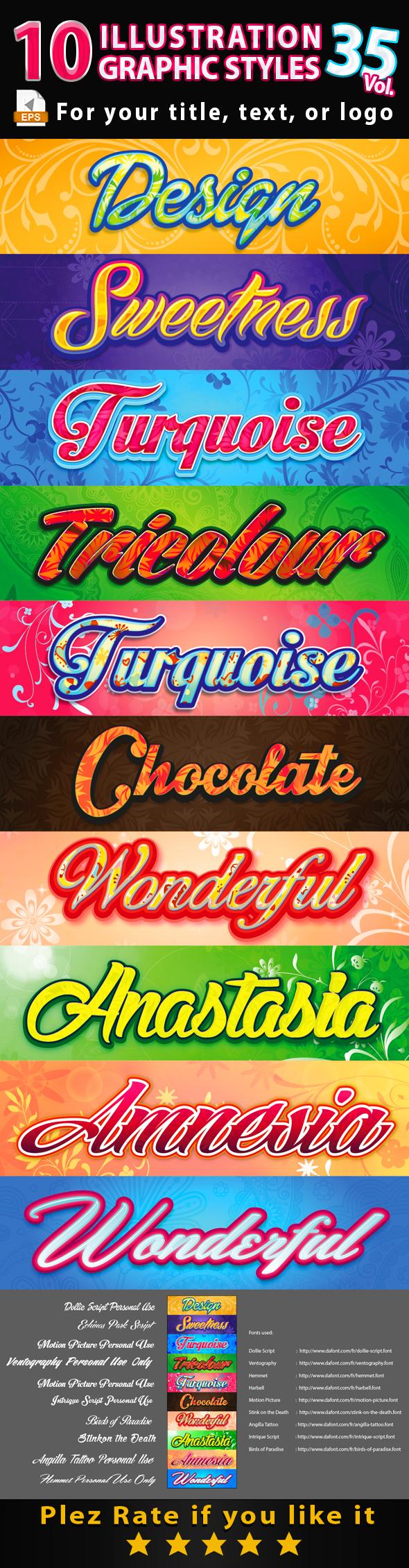 10 Illustrator Graphic Styles Vol.35 - Styles Illustrator