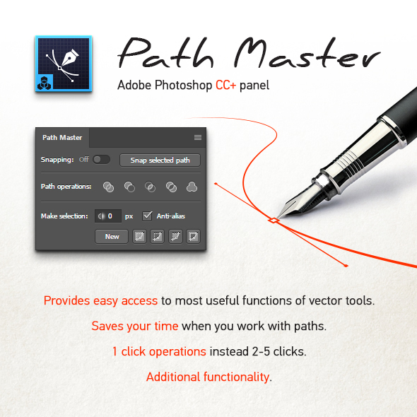Path Master Photoshop Panel CC+ - Utilities Actions