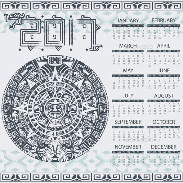 Aztec calendar 2017 - Travel Conceptual
