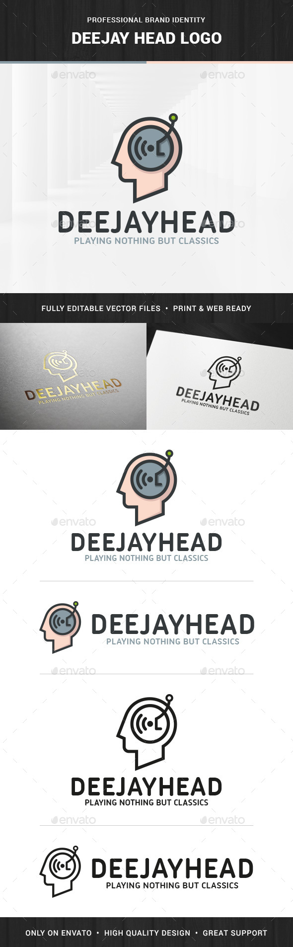 DJ Head Logo Template - Humans Logo Templates