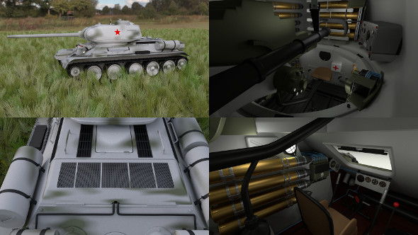T-34-85 with Interior HDRI Winter Camo - 3DOcean Item for Sale