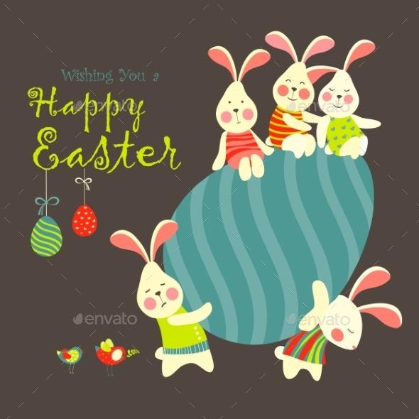 Easter Bunnies And Easter Egg - Seasons/Holidays Conceptual