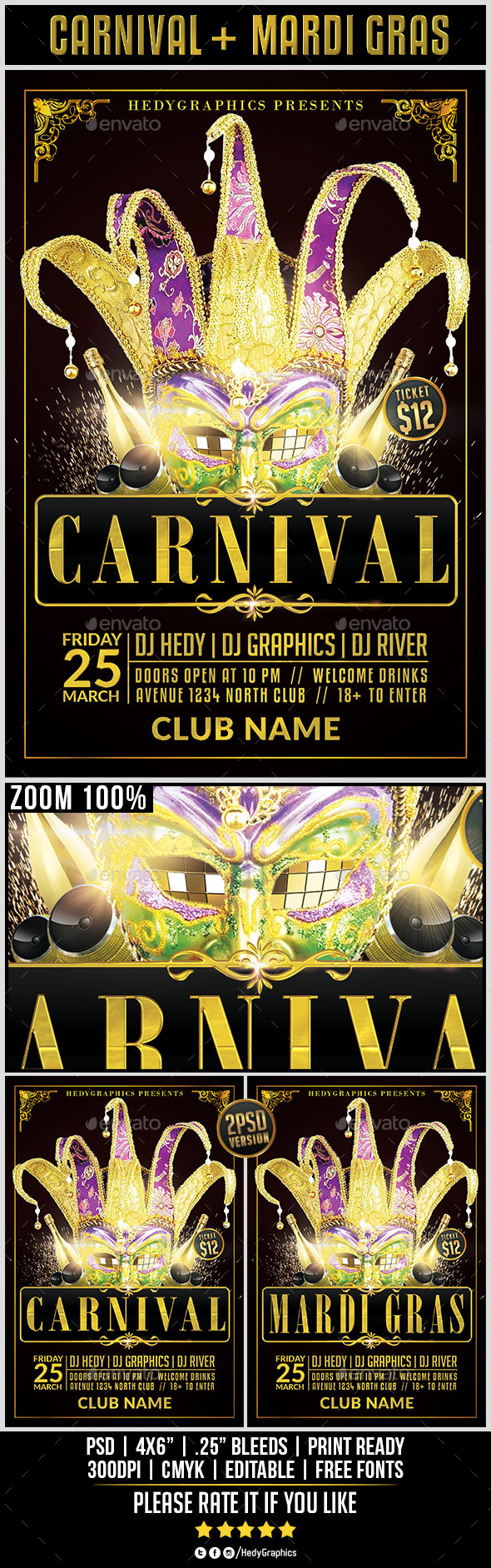 Carnival & Mardi Gras - Flyer Template - Events Flyers