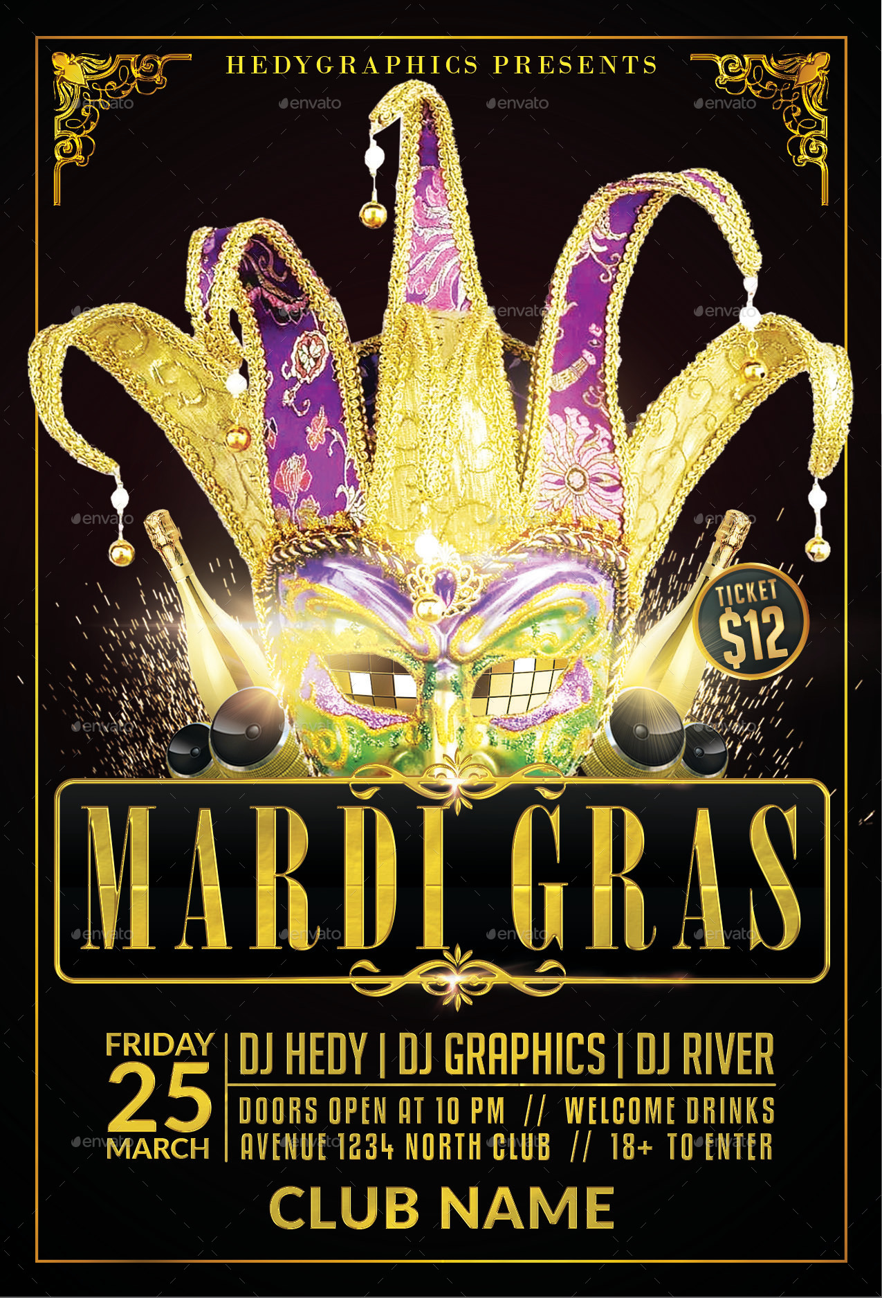 carnival & mardi gras - flyer templatehedygraphics | graphicriver, Powerpoint templates