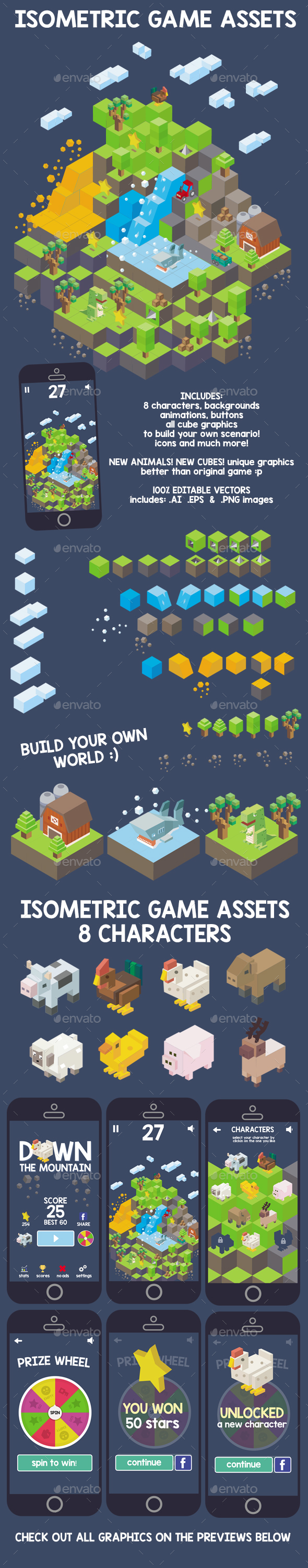 Isometric Game Assets - Down The Mountain - Game Kits Game Assets