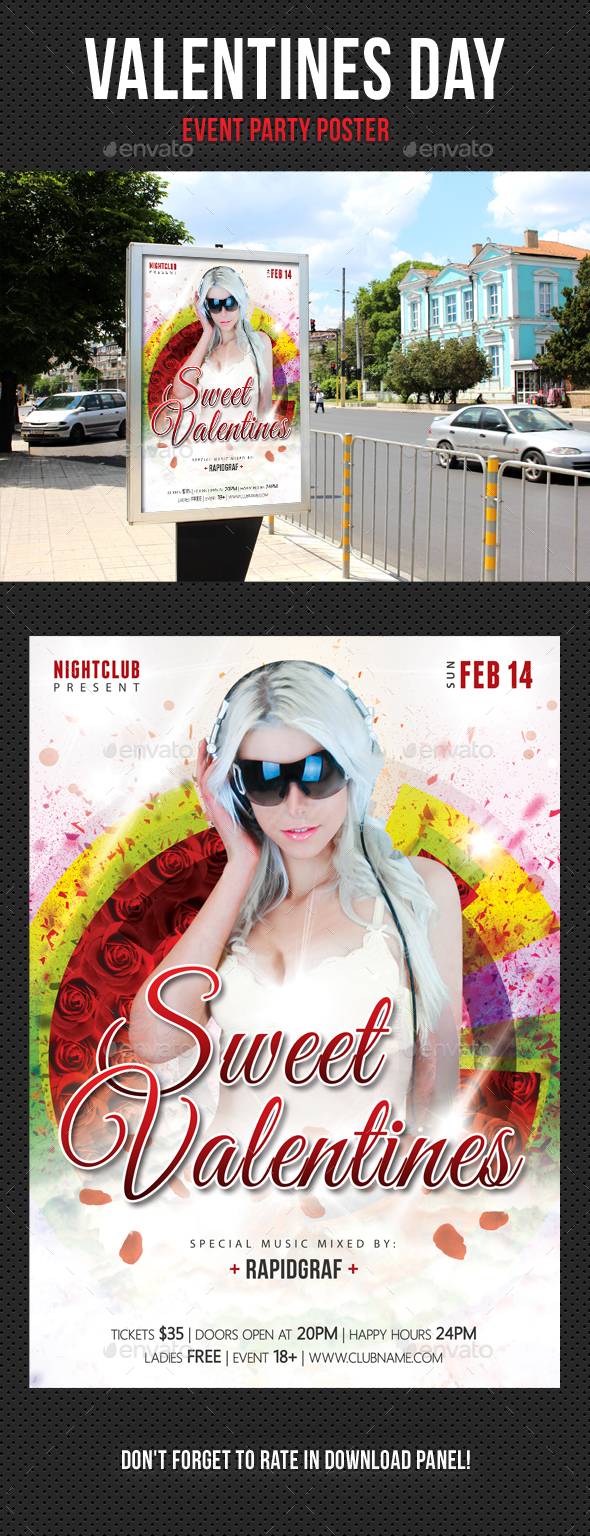 Valentines Day Party Poster 02 - Signage Print Templates