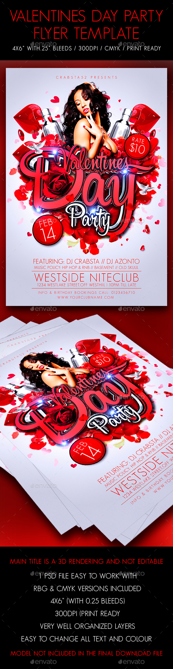 Valentines Day Party Flyer Template - Flyers Print Templates