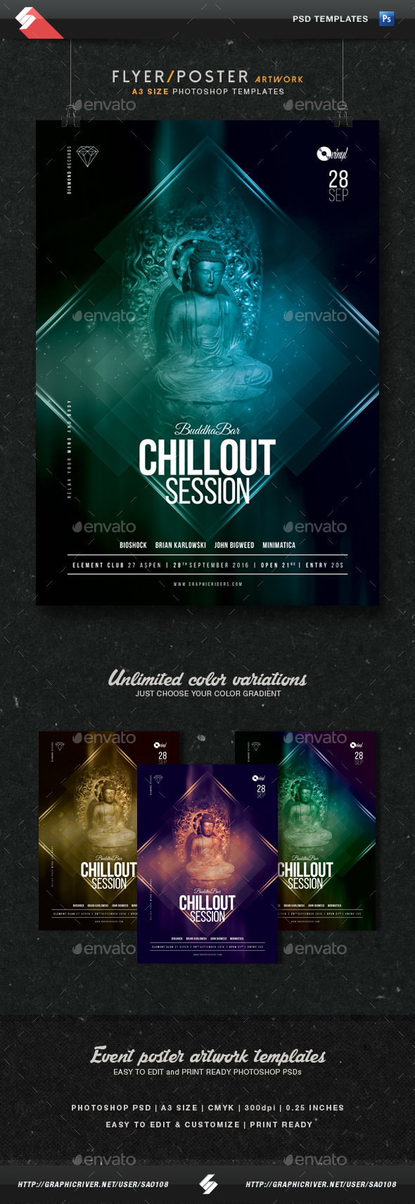 Buddha Bar Chillout Session Flyer Template A3 - Clubs & Parties Events