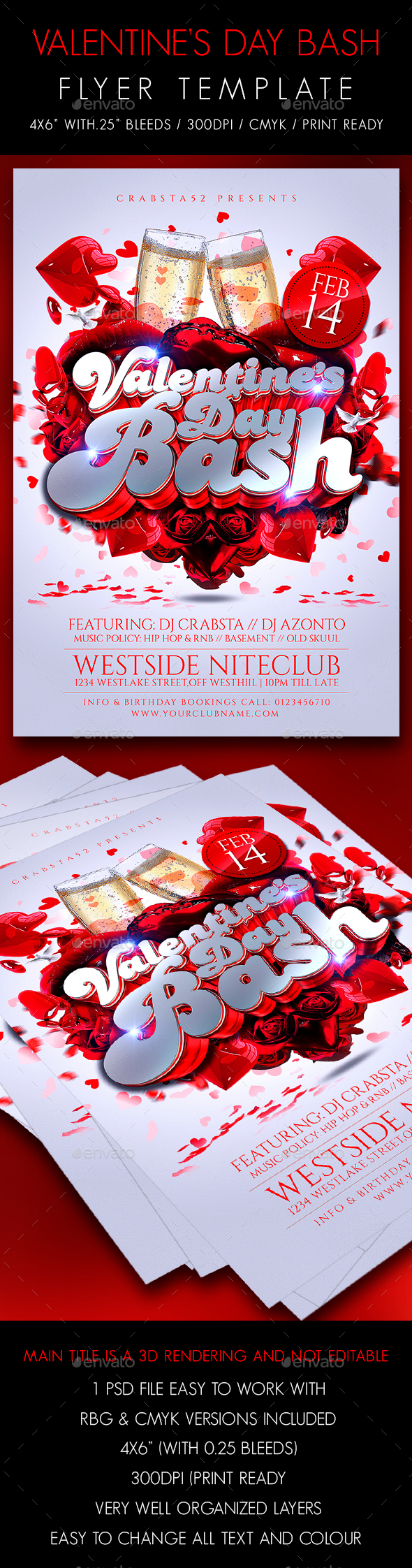 Valentines Day Bash Flyer Template - Flyers Print Templates