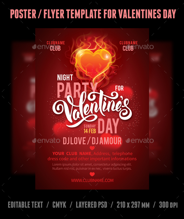 Valentines Day Poster Template - Clubs & Parties Events
