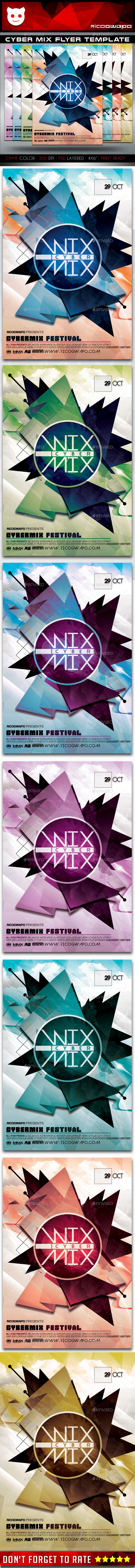 Cyber Mix Flyer Template - Flyers Print Templates