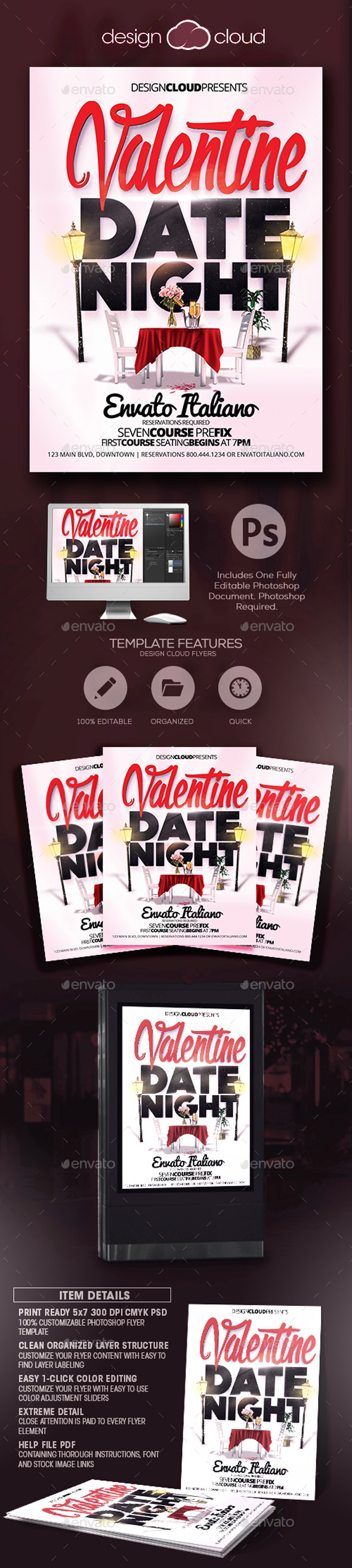 Valentine Date Night Flyer Template - Holidays Events