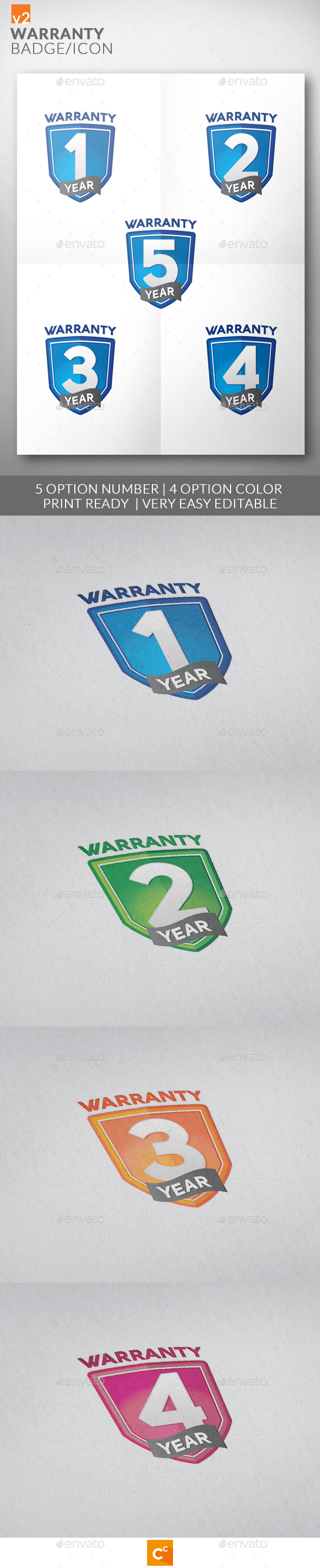 Premium Warranty Badge/Icon v2 - Badges & Stickers Web Elements