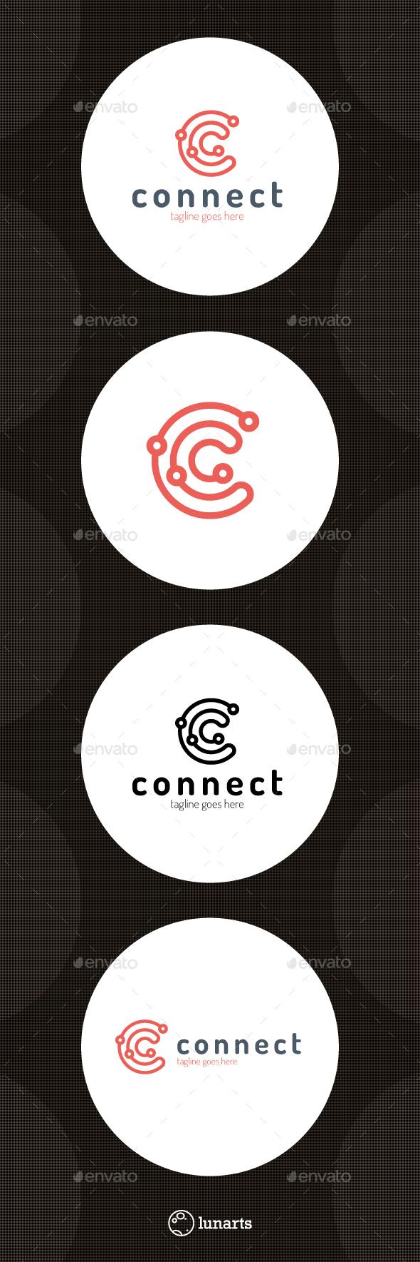 Connect Line Logo - Letter C - Letters Logo Templates