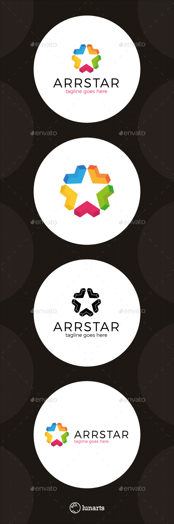 Colorful Arrow Star Logo - Abstract Logo Templates