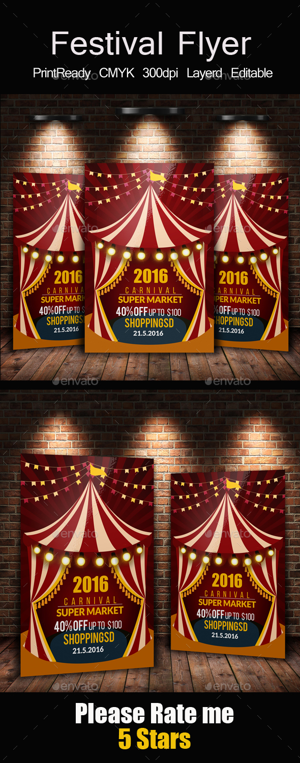 Circus & Carnival Psd Flyer Template - Events Flyers