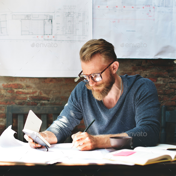 Architecture Man Working Planning Struction Concept - Stock Photo - Images
