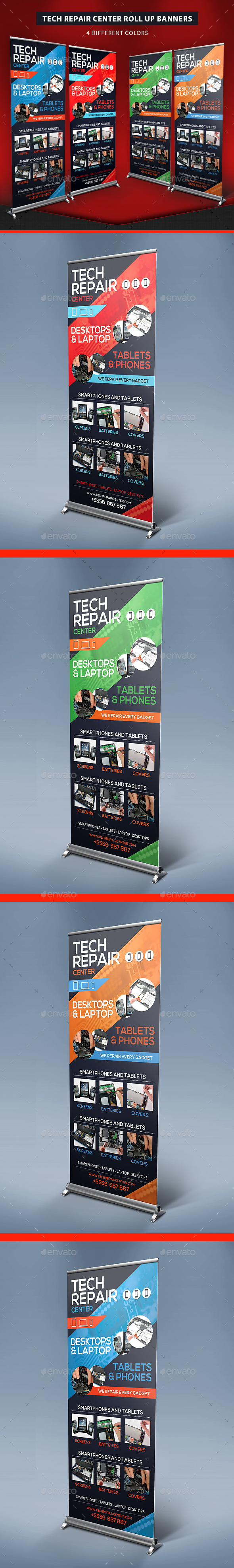Tech Repair Center Roll Up Banners - Signage Print Templates