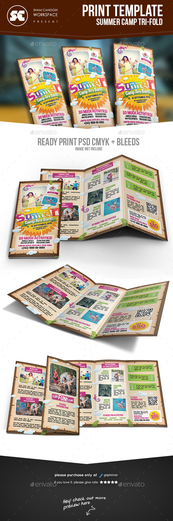 Kids Summer Camp Tri-Fold - Brochures Print Templates