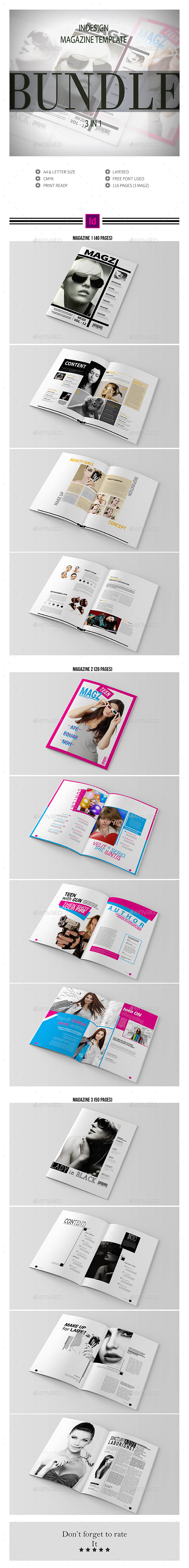 Multipurpose InDesign Magazine Template Bundle - Magazines Print Templates