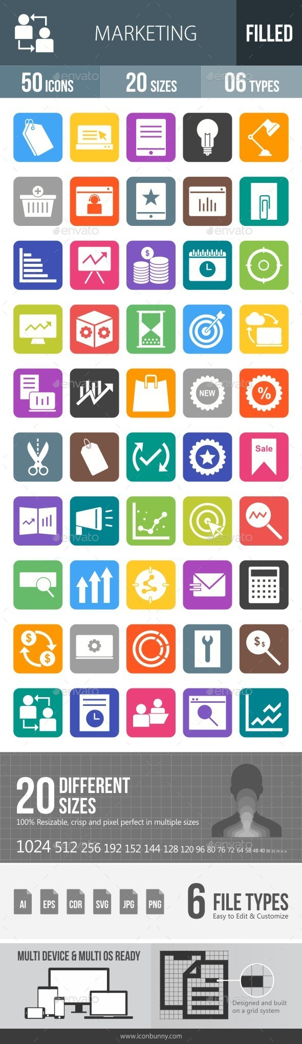 Marketing Flat Round Corner Icons - Icons