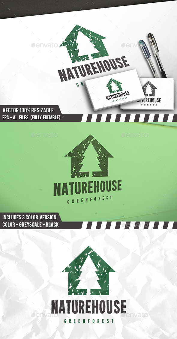 Tree House Grunge Logo - Buildings Logo Templates
