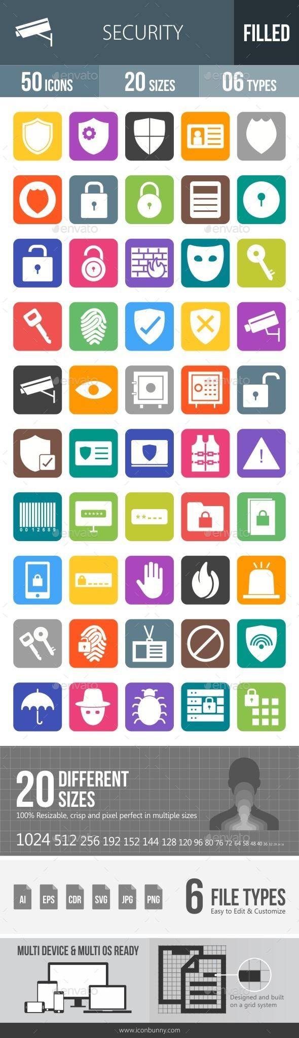 Security Flat Round Corner Icons - Icons