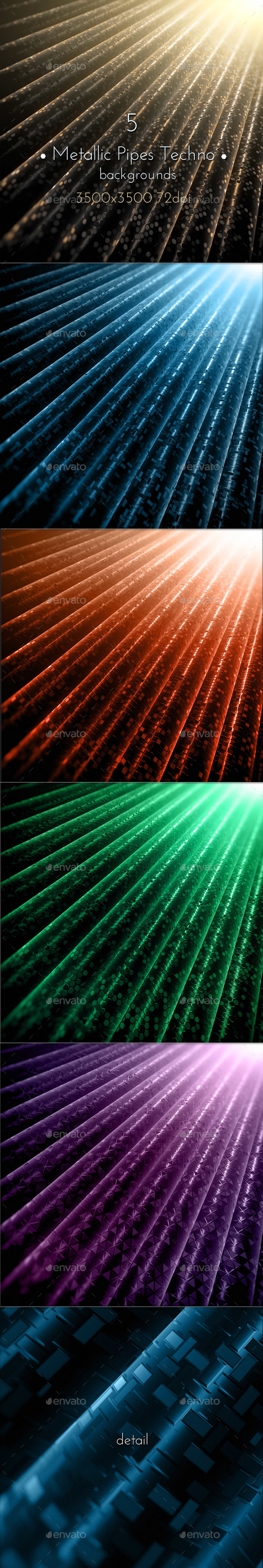 Metallic Pipes Techno Background - Tech / Futuristic Backgrounds
