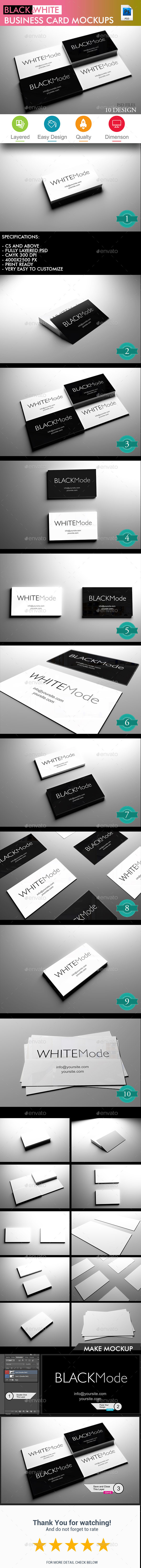 Black & White Business Card Mockup - Volume 2 - Business Cards Print