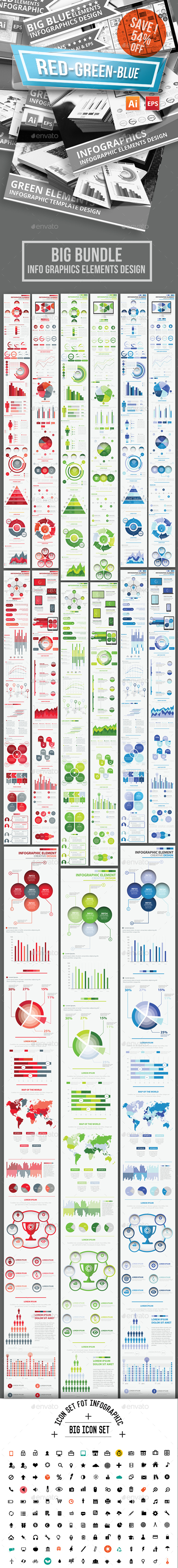 Bundle Red Green Blue Infographics Design - Infographics