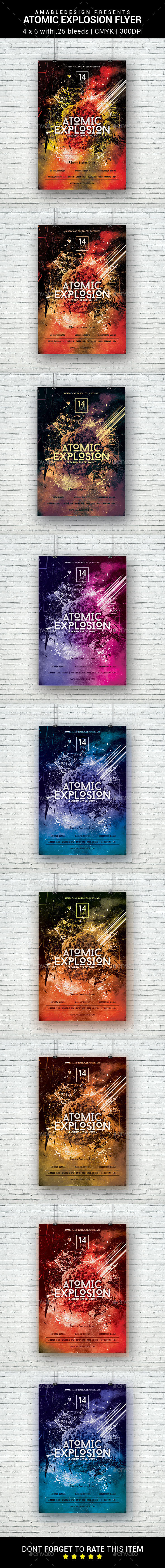 Atomic Explosion Flyer - Clubs & Parties Events